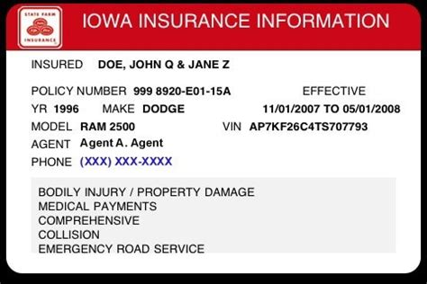 Auto Insurance Card Template by Insurance Cards Templates Resume Builder