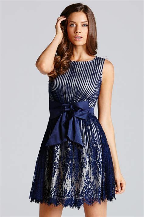 navy stripe lace bow front dress   mistress uk