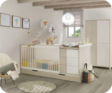 commode chambre bébé lit bébé combiné évolutif lili bois et blanc avec matelas bébé