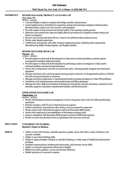 manager lab resume sles velvet jobs
