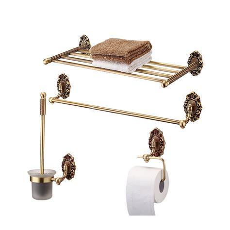 gold vintage polished brass towel rack shelf bathroom hardware sets