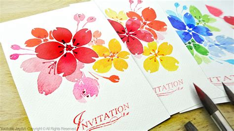 Watercolor Floral Invitations / DIY Handmade Cards   Level 2   YouTube