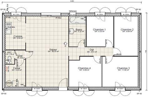 plan maison plain pied 2 chambres gratuit plan gratuit de maison plain pied 4 chambres avie home