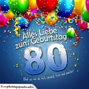 Besinnliches Zum 80 Geburtstag : geburtstagskarte mit bunten ballons konfetti und luftschlangen zum 80 geburtstag ~ Frokenaadalensverden.com Haus und Dekorationen