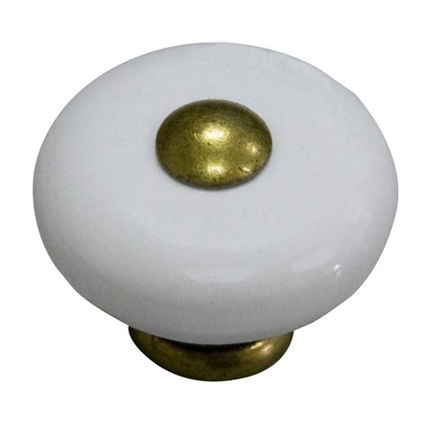 shop style selections antique brass and porcelain white cabinet knob at lowes