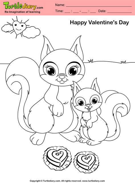 Coloring Sheet by Squirrel Day Coloring Sheet Turtle Diary