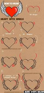 How to Draw a Heart with Wings - Easy Step by Step Drawing ...