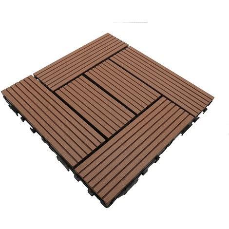 dalle de terrasse bois composite classic 30 x 30 cm coloris terre cuite epaisseur 25mm