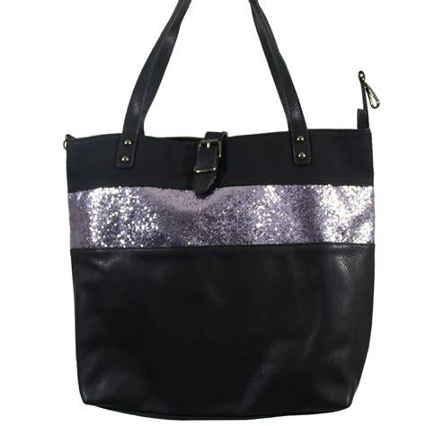 grand sac  main noir simili cuir avec fermeture originale