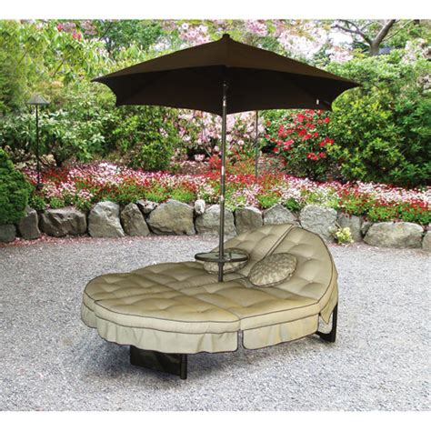 Patio Table Umbrellas At Walmart by Mainstays Deluxe Orbit Chaise Lounge With Umbrella Side
