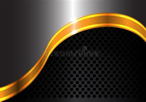 Abstract Black Ribbon Black Background Design by Abstract Gold Ribbon Curve Metal And Black Circle Mesh