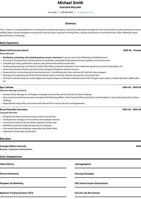 Recruiter - Resume Samples and Templates | VisualCV