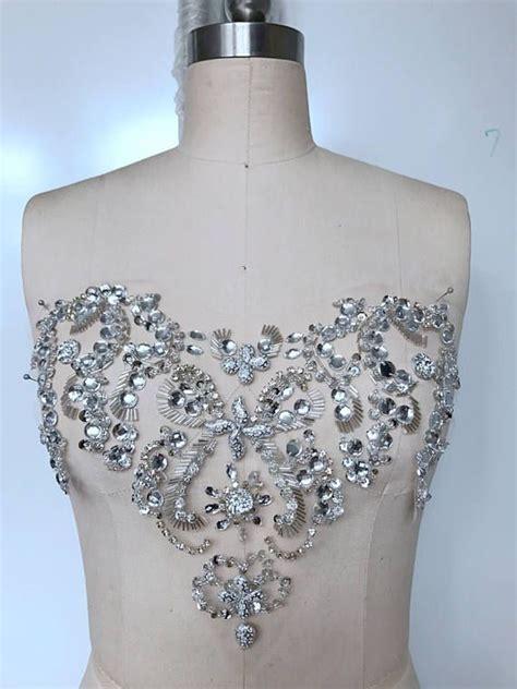 handmade silver sew on rhinestones applique crystals trim