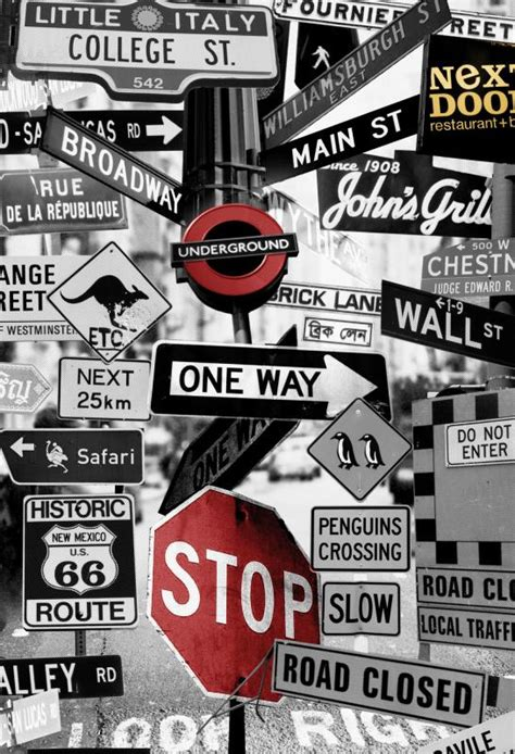street signs wallpaper mural designed   jacobson