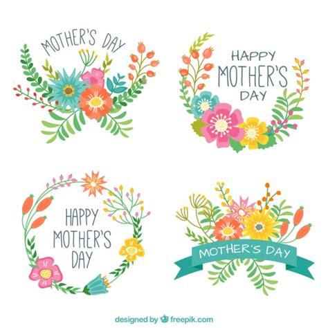 moederdag etiketten met bloemen vector gratis