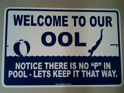No P In Pool  Funny  Safety Warning Metal Sign
