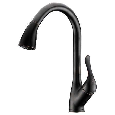 rubbed bronze pull kitchen faucet anzzi accent series single handle pull sprayer