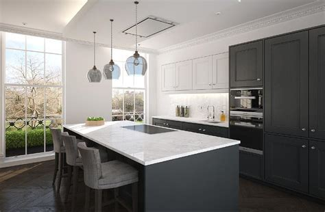 light colored hardwood floors white cabinets and gray lower cabinets
