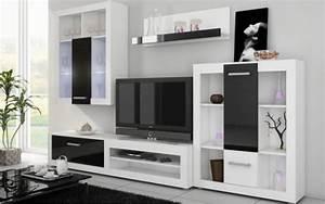 Meuble Mural Salon : achat ensemble complet meuble mural tv moderne viki finitions blanc et noir brillant ~ Teatrodelosmanantiales.com Idées de Décoration
