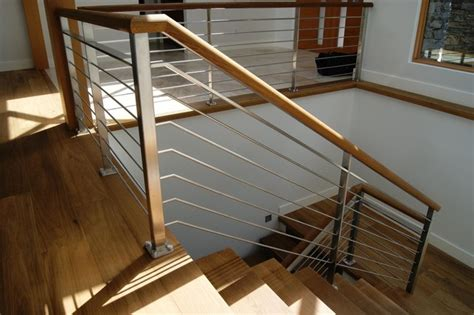 oak stainless steel interior railing contemporary
