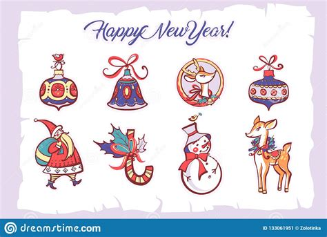 Happy New Year And Merry Christmas Holiday Hand drawn