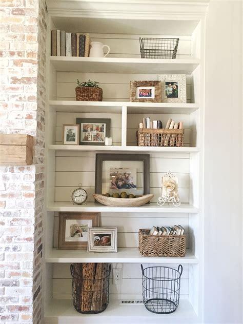 Built In Bookshelves Styling And Decor Shiplap Whitewash