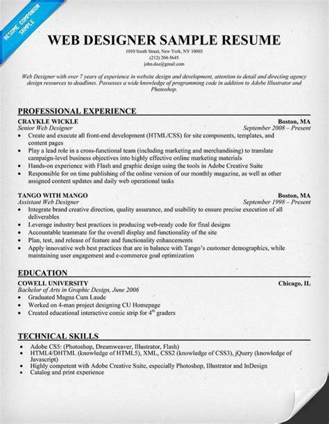 web designer resume technology resumecompanioncom