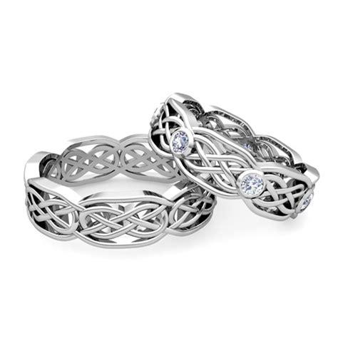 his wedding band 14k gold celtic knot diamond wedding ring