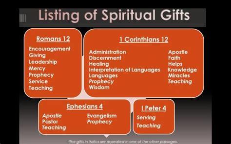 list  spiritual gifts romans   corinthians