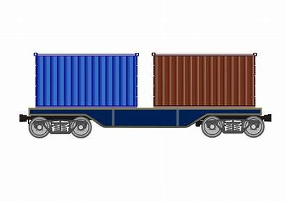 Train Clipart Wagon Freight Flat Transparent Cargo