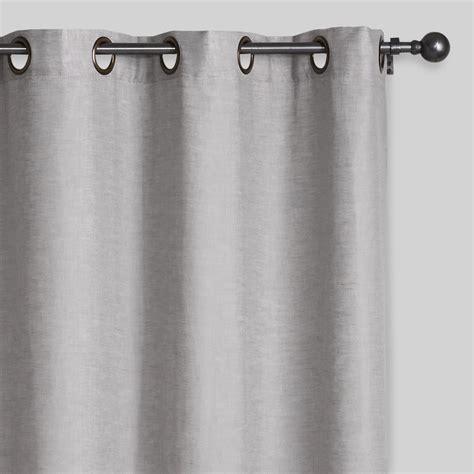 slate gray linen grommet top curtains set of 2 world market
