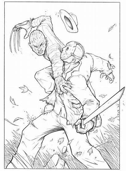 Jason Pages Coloring Freddy Adult Colouring Myers