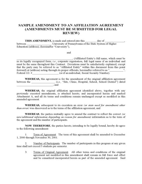 affiliate agreement template sle amendment to an affiliation agreement free