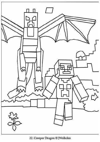 Minecraft Coloring Dragon Ender Pages Colouring Printable