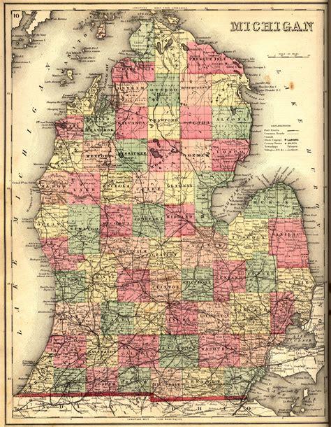 large vintage map  michigan  maps map