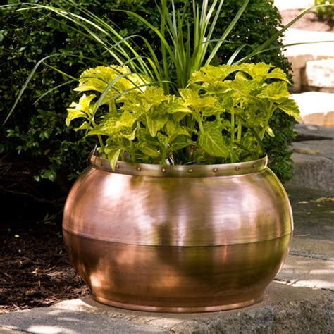 Copper Outdoor Planters oval copper trough planter with decorative handle outdoor