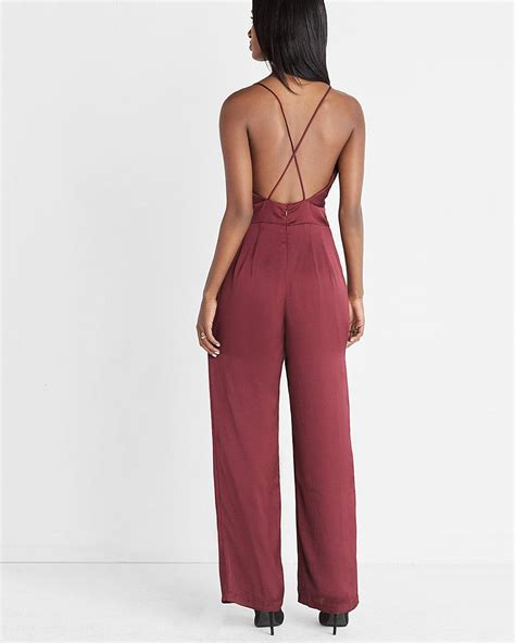 express jumpsuits lyst express satin jumpsuit in