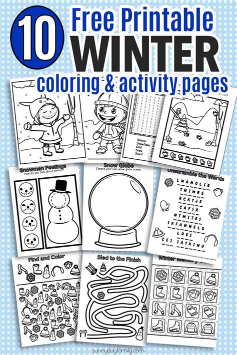 printable winter coloring activity pages sunny