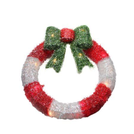 lighted tinsel red  white wreath  bow christmas