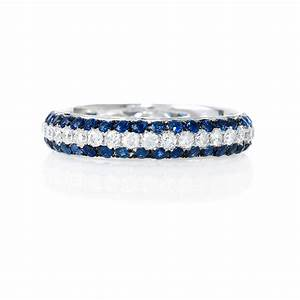 56ct Diamond And Blue Sapphire 18k White Gold Eternity