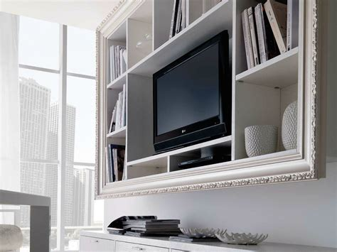 cool white varnished wooden wall mounted tv cabinet