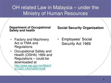 legal requirements  occupational safety  health