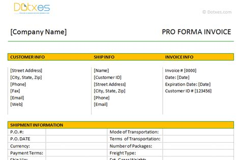 proforma invoice template dotxes
