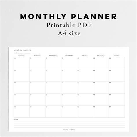 monthly planner instant  lomond paper