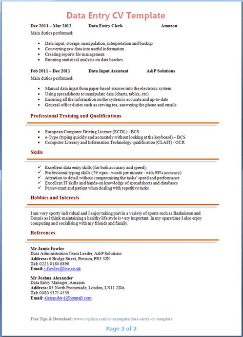 Sle Of A Cv by Cv Template Resume Cv