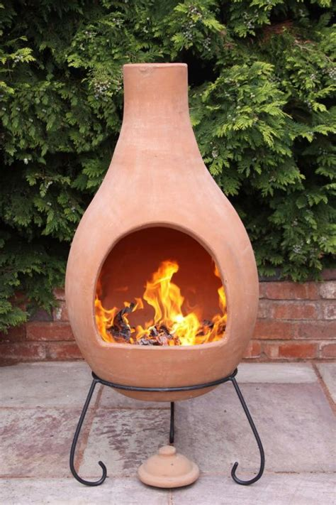 chiminea clay outdoor fireplace jumbo mexican clay terracotta chimenea stacked