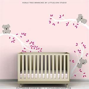 pink kids decal wall decor baby pink room white tree branches With baby wall decor