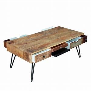 Table Basse Bois : table basse vintage en bois fusion by drawer ~ Teatrodelosmanantiales.com Idées de Décoration