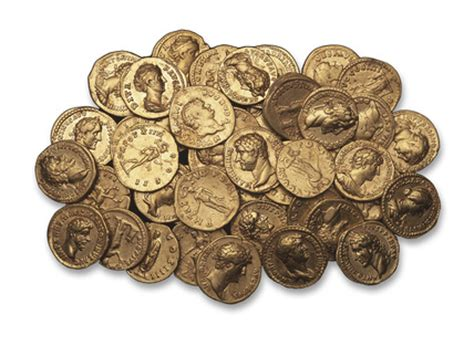 selection  roman gold coins  museum  london
