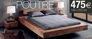 Lit En Bois Massif : lit en bois massif 140x190 modele de lit el bodegon ~ Teatrodelosmanantiales.com Idées de Décoration